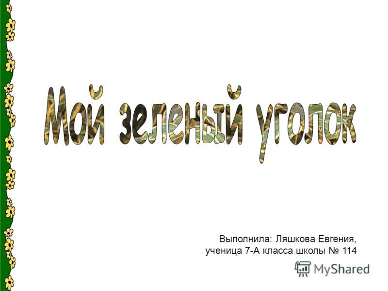 Выполнила: Ляшкова Евгения, ученица 7-А класса школы 114