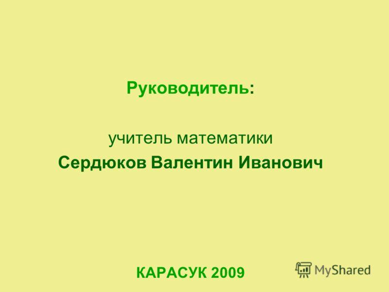 Руководитель: учитель математики Сердюков Валентин Иванович КАРАСУК 2009