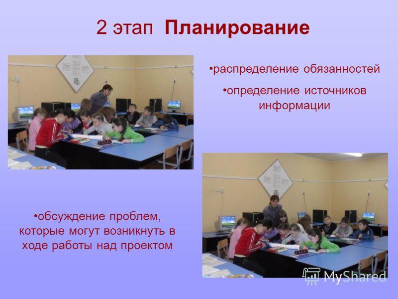 2 этап Планирование распределение обязанностей определение источников информации обсуждение проблем, которые могут возникнуть в ходе работы над проектом