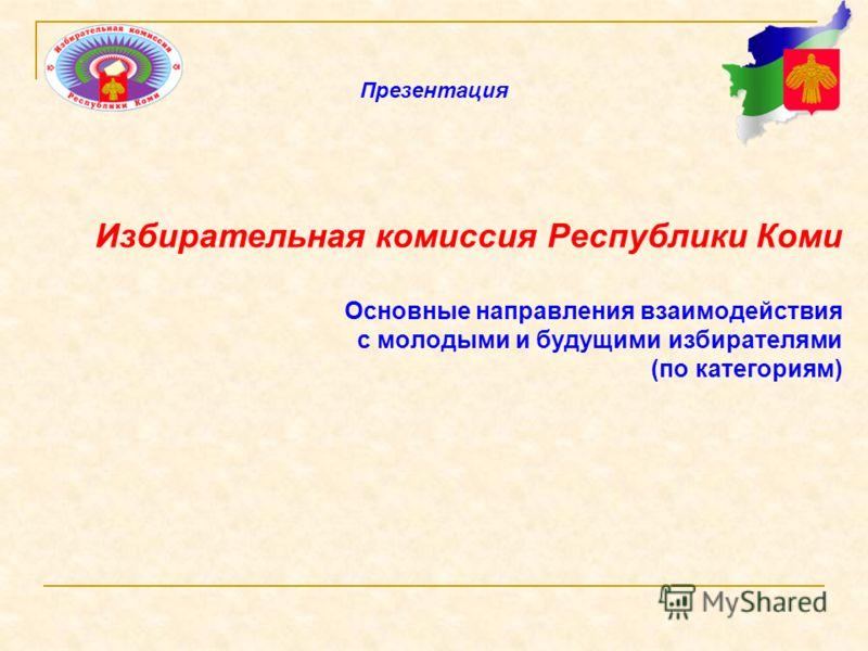 Избирательная комиссия Республики Коми Основные направления взаимодействия с молодыми и будущими избирателями (по категориям) Презентация