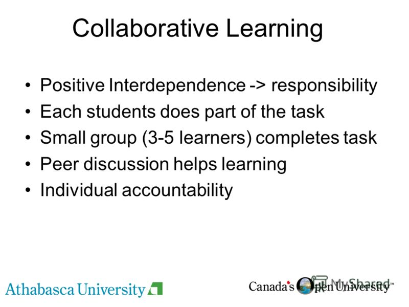 Collaborative Learning Positive Interdependence -> responsibility Each students does part of the task Small group (3-5 learners) completes task Peer discussion helps learning Individual accountability