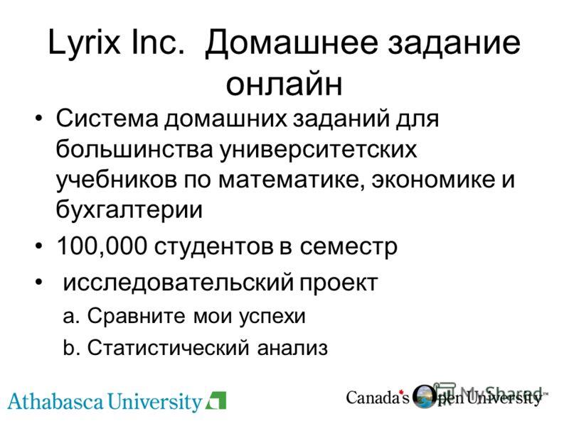 Lyrix Inc. Домашнее задание онлайн Система домашних заданий для большинства университетских учебников по математике, экономике и бухгалтерии 100,000 студентов в семестр исследовательский проект a. Сравните мои успехи b. Статистический анализ