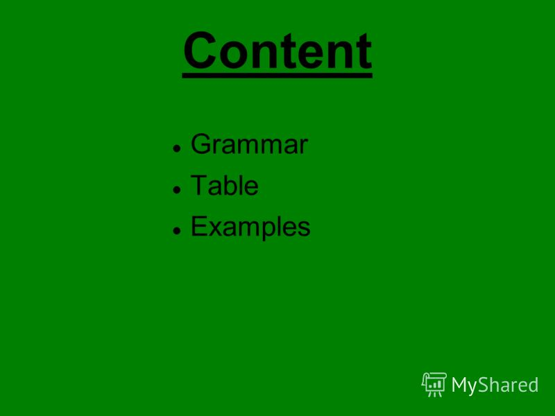 Content Grammar Table Examples