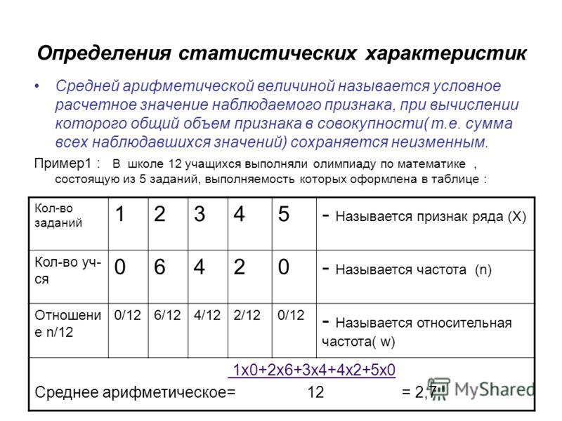 Определения статистических характеристик Средней арифметической величиной называется условное расчетное значение наблюдаемого признака, при вычислении которого общий объем признака в совокупности( т.е. сумма всех наблюдавшихся значений) сохраняется н