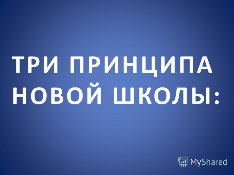 ТРИ ПРИНЦИПА НОВОЙ ШКОЛЫ: