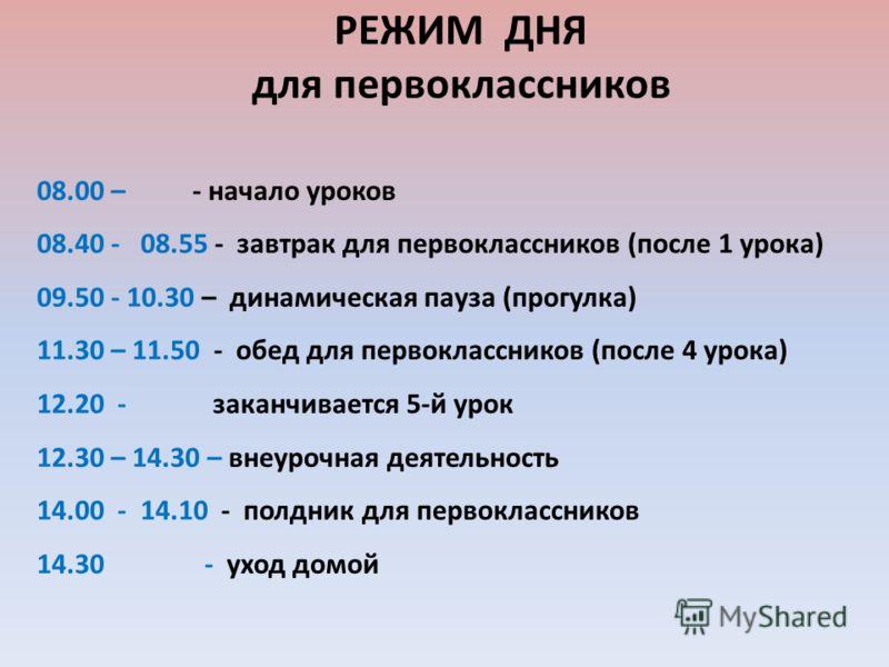 РЕЖИМ ДНЯ для первоклассников 08.00 – - начало уроков 08.40 - 08.55 - завтрак для первоклассников (после 1 урока) 09.50 - 10.30 – динамическая пауза (прогулка) 11.30 – 11.50 - обед для первоклассников (после 4 урока) 12.20 - заканчивается 5-й урок 12