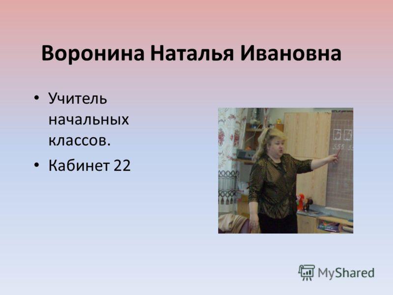 Воронина Наталья Ивановна Учитель начальных классов. Кабинет 22