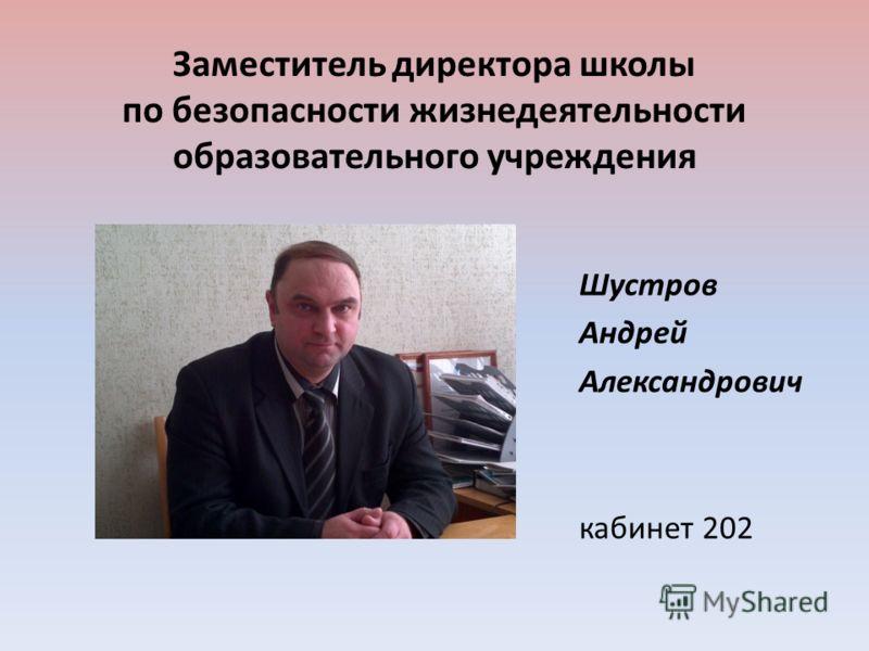 Заместитель директора школы по безопасности жизнедеятельности образовательного учреждения Шустров Андрей Александрович кабинет 202
