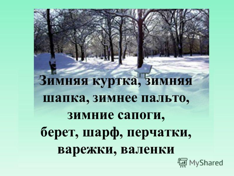 Зимняя куртка, зимняя шапка, зимнее пальто, зимние сапоги, берет, шарф, перчатки, варежки, валенки