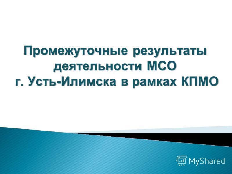 Промежуточные результаты деятельности МСО г. Усть-Илимска в рамках КПМО