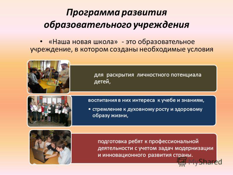 Программа развития образовательного учреждения «Наша новая школа» - это образовательное учреждение, в котором созданы необходимые условия для раскрытия личностного потенциала детей, воспитания в них интереса к учебе и знаниям, стремление к духовному