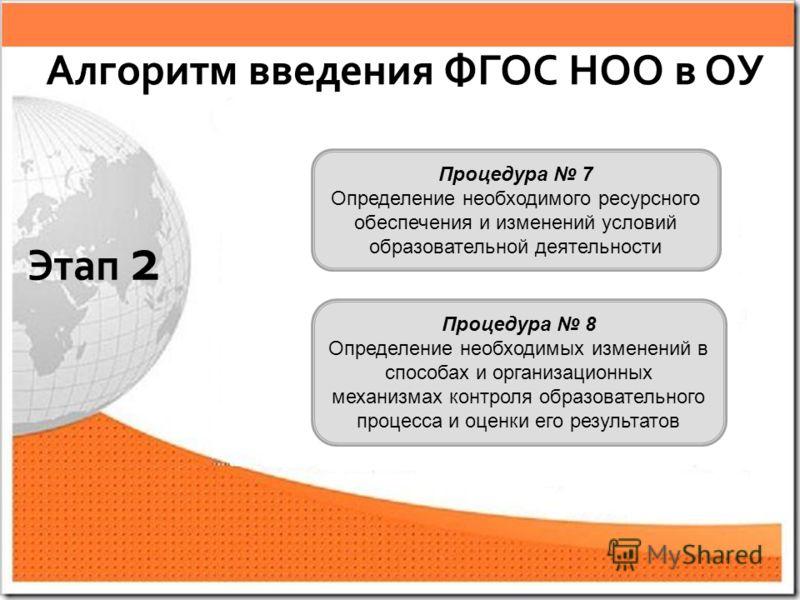 Процедура 7 Определение необходимого ресурсного обеспечения и изменений условий образовательной деятельности Процедура 8 Определение необходимых изменений в способах и организационных механизмах контроля образовательного процесса и оценки его результ