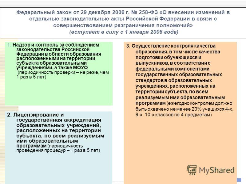 УСП Федеральный закон от 29 декабря 2006 г. 258-ФЗ «О внесении изменений в отдельные законодательные акты Российской Федерации в связи с совершенствованием разграничения полномочий» (вступает в силу с 1 января 2008 года) 2. Лицензирование и государст