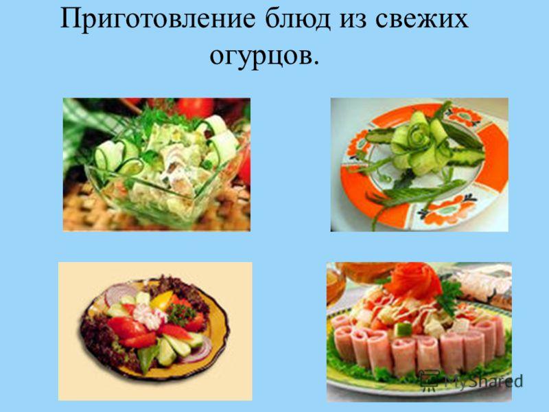 Приготовление блюд из свежих огурцов.