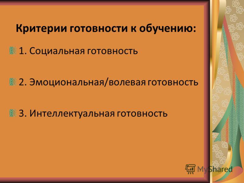 3 Критерии готовности к обучению: 1. Социальная готовность 2. Эмоциональная/волевая готовность 3. Интеллектуальная готовность