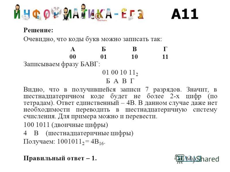 Решение: Очевидно, что коды букв можно записать так: Записываем фразу БАВГ: 01 00 10 11 2 Б А В Г Видно, что в получившейся записи 7 разрядов. Значит, в шестнадцатеричном коде будет не более 2-х цифр (по тетрадам). Ответ единственный – 4B. В данном с