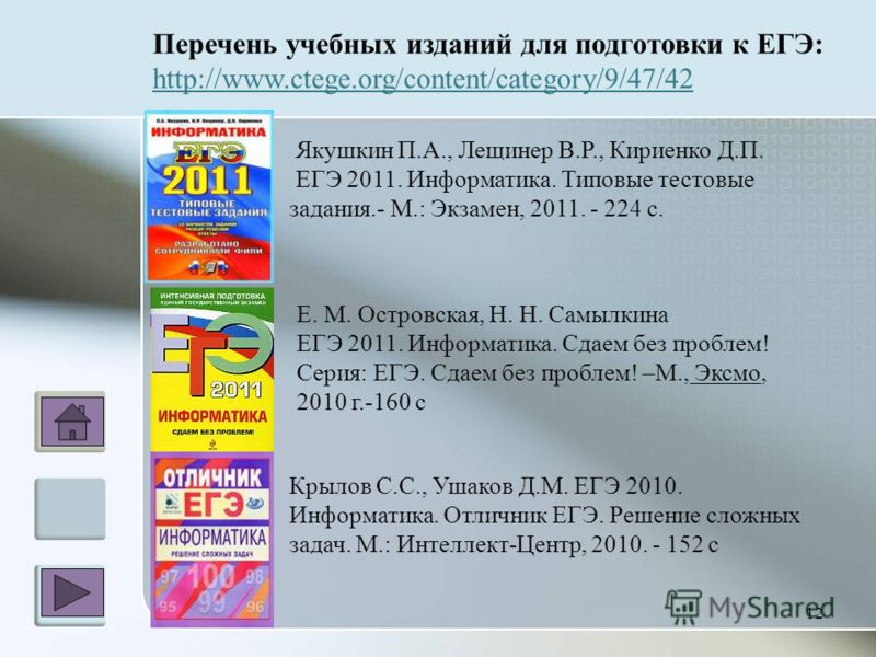 12 Перечень учебных изданий для подготовки к ЕГЭ: http://www.ctege.org/content/category/9/47/42 Якушкин П.А., Лещинер В.Р., Кириенко Д.П. ЕГЭ 2011. Информатика. Типовые тестовые задания.- М.: Экзамен, 2011. - 224 с. Е. М. Островская, Н. Н. Самылкина