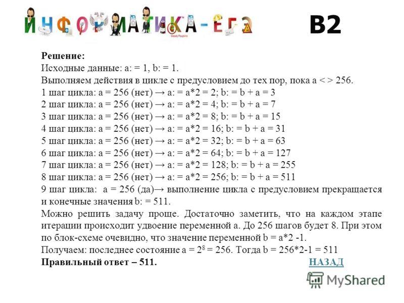 Решение: Исходные данные: a: = 1, b: = 1. Выполняем действия в цикле с предусловием до тех пор, пока a 256. 1 шаг цикла: a = 256 (нет) a: = a*2 = 2; b: = b + a = 3 2 шаг цикла: a = 256 (нет) a: = a*2 = 4; b: = b + a = 7 3 шаг цикла: a = 256 (нет) a: