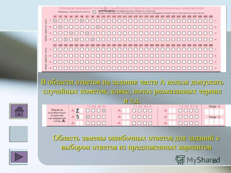 В области ответов на задания части А нельзя допускать случайных пометок, клякс, полос размазанных чернил и т.д. 26 Область замены ошибочных ответов для заданий с выбором ответов из предложенных вариантов