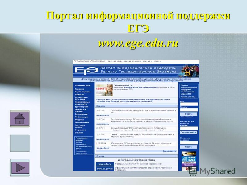 Портал информационной поддержки ЕГЭwww.ege.edu.ru 31