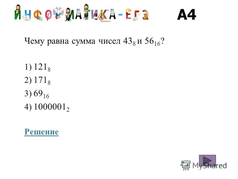 A4 Чему равна сумма чисел 43 8 и 56 16 ? 1) 121 8 2) 171 8 3) 69 16 4) 1000001 2 Решение