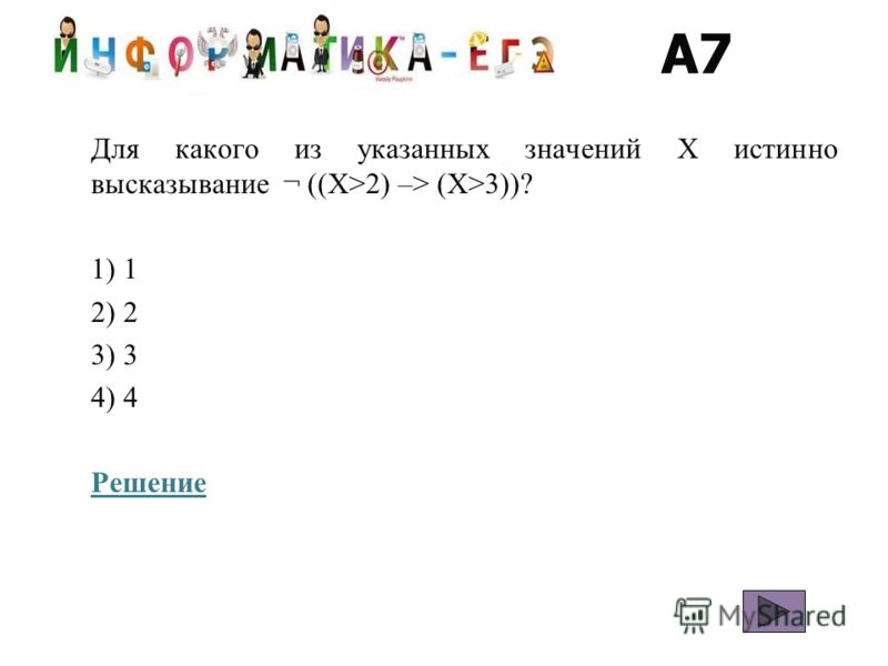 A7 Для какого из указанных значений X истинно высказывание ¬ ((X>2) –> (X>3))? 1) 1 2) 2 3) 3 4) 4 Решение
