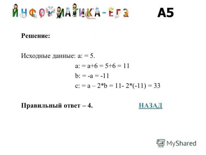 Решение: Исходные данные: a: = 5. a: = a+6 = 5+6 = 11 b: = -a = -11 c: = a – 2*b = 11- 2*(-11) = 33 Правильный ответ – 4. НАЗАДНАЗАД A5