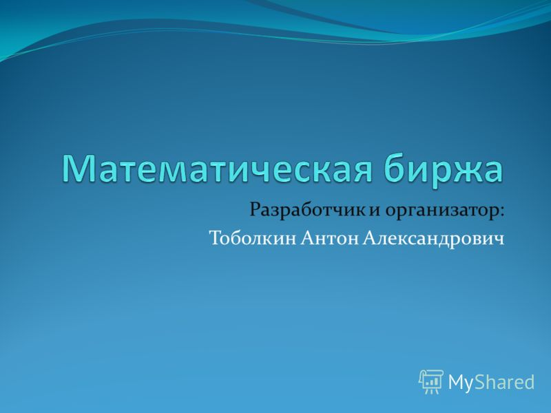 Разработчик и организатор: Тоболкин Антон Александрович