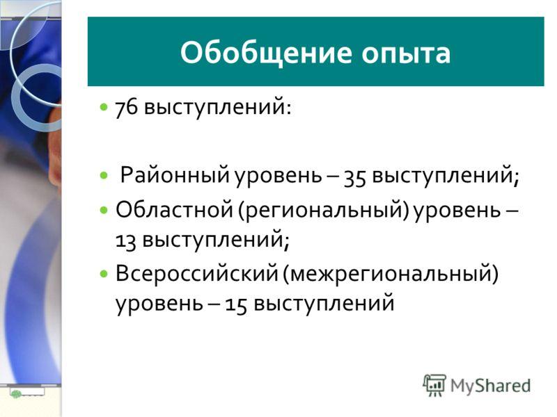 Обобщение опыта 76 выступлений : Районный уровень – 35 выступлений ; Областной ( региональный ) уровень – 13 выступлений ; Всероссийский ( межрегиональный ) уровень – 15 выступлений