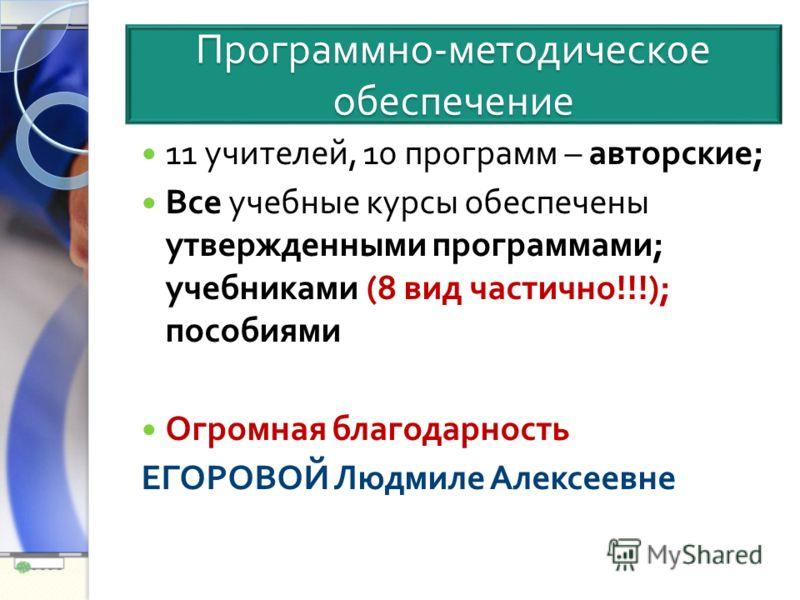 Программно - методическое обеспечение 11 учителей, 10 программ – авторские ; Все учебные курсы обеспечены утвержденными программами ; учебниками (8 вид частично !!!); пособиями Огромная благодарность ЕГОРОВОЙ Людмиле Алексеевне