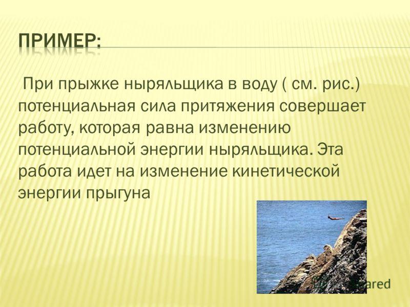 При прыжке ныряльщика в воду ( см. рис.) потенциальная сила притяжения совершает работу, которая равна изменению потенциальной энергии ныряльщика. Эта работа идет на изменение кинетической энергии прыгуна