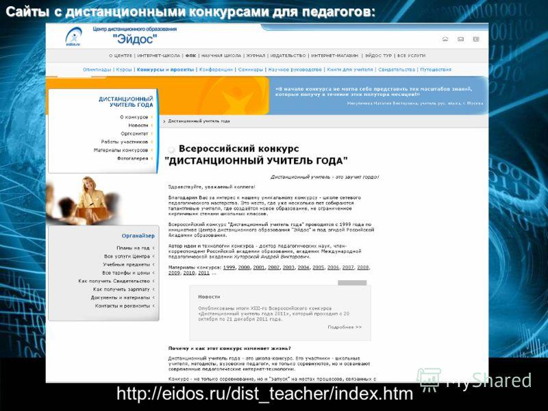 http://eidos.ru/dist_teacher/index.htm Сайты с дистанционными конкурсами для педагогов: