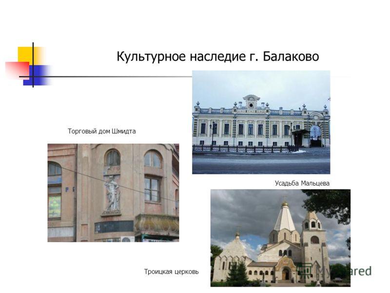 Культурное наследие г. Балаково Торговый дом Шмидта Усадьба Мальцева Троицкая церковь