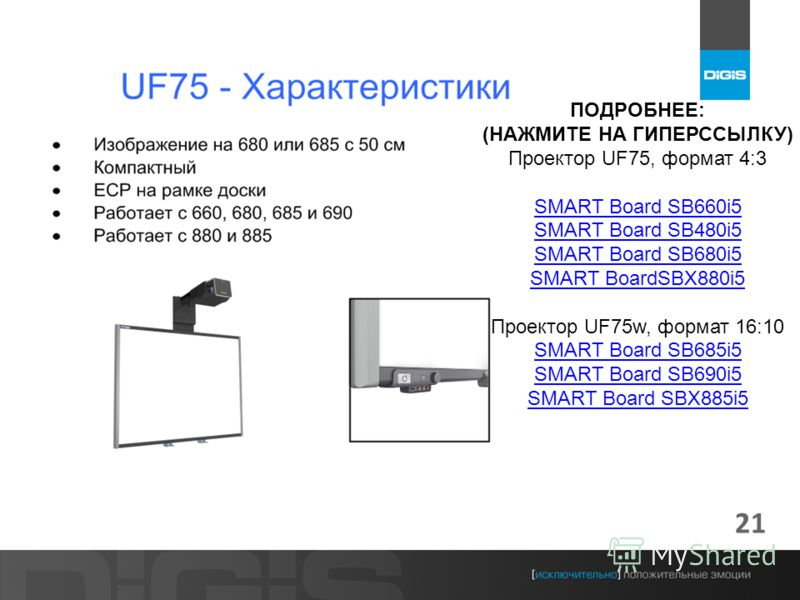 21 ПОДРОБНЕЕ: (НАЖМИТЕ НА ГИПЕРССЫЛКУ) Проектор UF75, формат 4:3 SMART Board SB660i5 SMART Board SB480i5 SMART Board SB680i5 SMART BoardSBX880i5 Проектор UF75w, формат 16:10 SMART Board SB685i5 SMART Board SB690i5 SMART Board SBX885i5