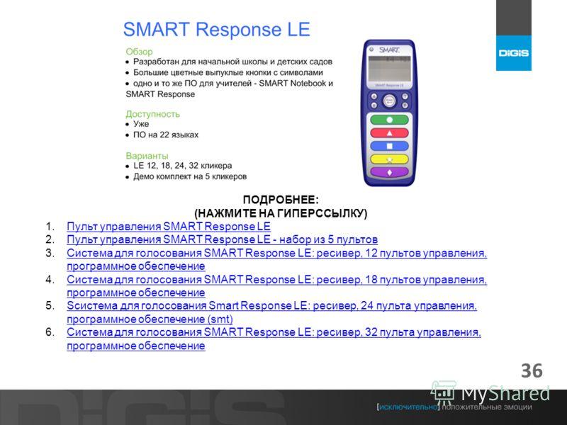 36 ПОДРОБНЕЕ: (НАЖМИТЕ НА ГИПЕРССЫЛКУ) 1.Пульт управления SMART Response LEПульт управления SMART Response LE 2.Пульт управления SMART Response LE - набор из 5 пультовПульт управления SMART Response LE - набор из 5 пультов 3.Система для голосования S