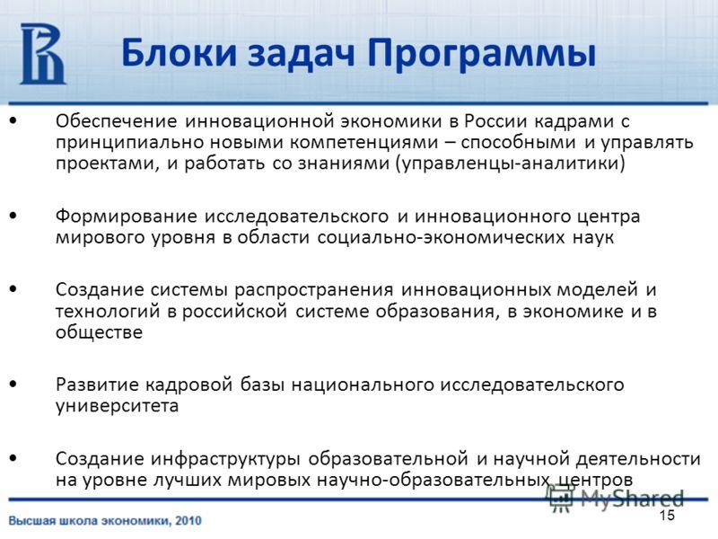 15 Блоки задач Программы Обеспечение инновационной экономики в России кадрами с принципиально новыми компетенциями – способными и управлять проектами, и работать со знаниями (управленцы-аналитики) Формирование исследовательского и инновационного цент