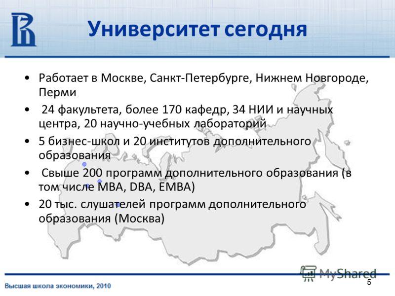 5 Работает в Москве, Санкт-Петербурге, Нижнем Новгороде, Перми 24 факультета, более 170 кафедр, 34 НИИ и научных центра, 20 научно-учебных лабораторий 5 бизнес-школ и 20 институтов дополнительного образования Cвыше 200 программ дополнительного образо