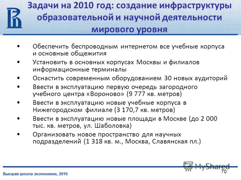 70 Задачи на 2010 год: создание инфраструктуры образовательной и научной деятельности мирового уровня Обеспечить беспроводным интернетом все учебные корпуса и основные общежития Установить в основных корпусах Москвы и филиалов информационные терминал