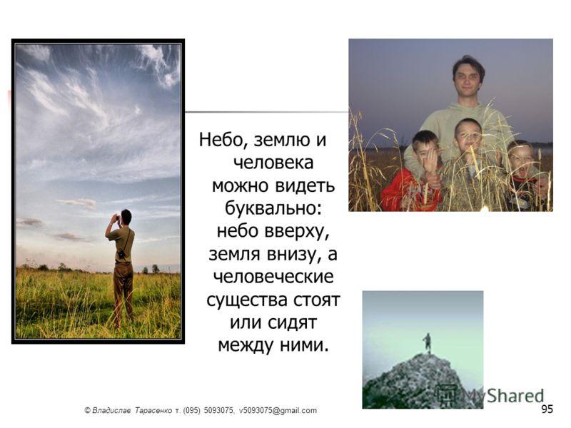 © Владислав Тарасенко т. (095) 5093075, v5093075@gmail.com 95 Небо, землю и человека можно видеть буквально: небо вверху, земля внизу, а человеческие существа стоят или сидят между ними.