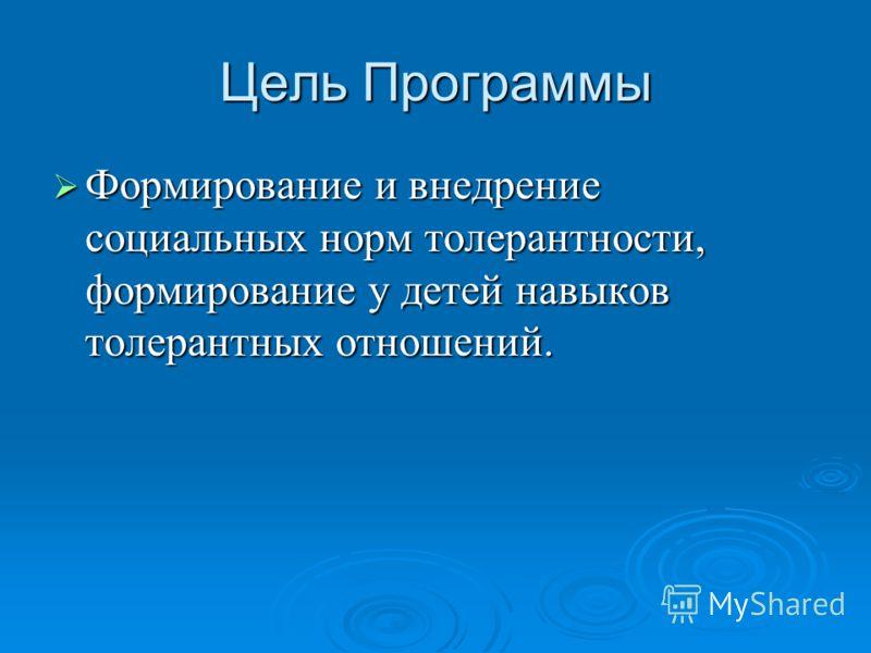Цель Программы Формирование и внедрение социальных норм толерантности, формирование у детей навыков толерантных отношений. Формирование и внедрение социальных норм толерантности, формирование у детей навыков толерантных отношений.