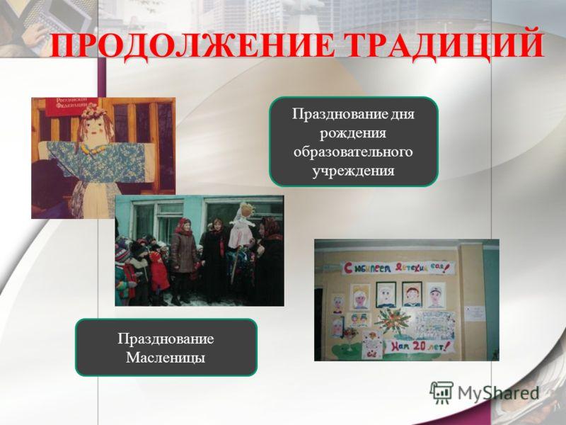 ПРОДОЛЖЕНИЕ ТРАДИЦИЙ Празднование Масленицы Празднование дня рождения образовательного учреждения