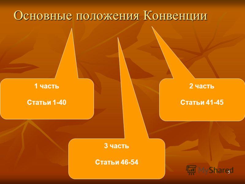 Основные положения Конвенции 1 часть Статьи 1-40 2 часть Статьи 41-45 3 часть Статьи 46-54 5