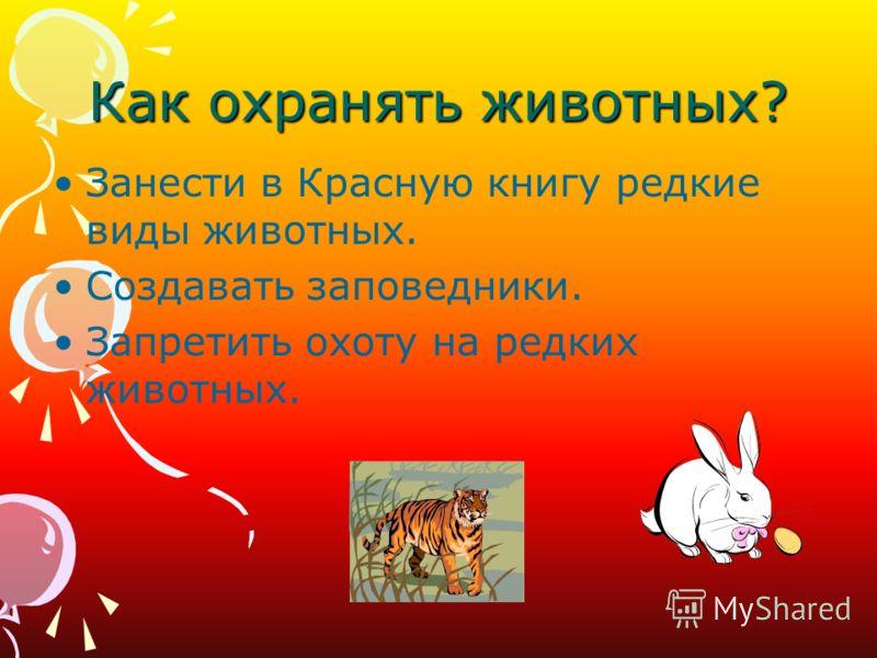 Как охранять животных? Занести в Красную книгу редкие виды животных. Создавать заповедники. Запретить охоту на редких животных.