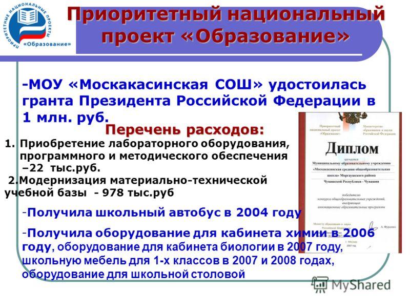 -МОУ «Москакасинская СОШ» удостоилась гранта Президента Российской Федерации в 1 млн. руб. -Получила школьный автобус в 2004 году -Получила оборудование для кабинета химии в 2006 году, оборудование для кабинета биологии в 2007 году, школьную мебель д