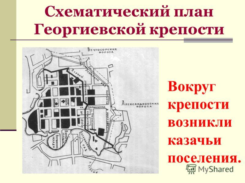Схематический план Георгиевской крепости Вокруг крепости возникли казачьи поселения.