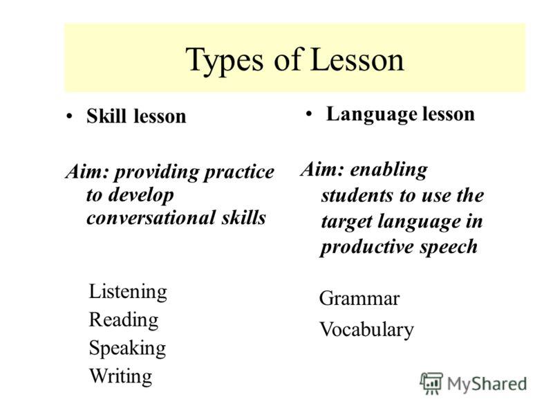 Основные типы урока иностранного языка