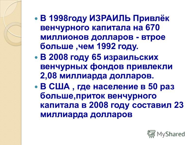 В 1998году ИЗРАИЛЬ Привлёк венчурного капитала на 670 миллионов долларов - втрое больше,чем 1992 году. В 2008 году 65 израильских венчурных фондов привлекли 2,08 миллиарда долларов. В США, где население в 50 раз больше,приток венчурного капитала в 20