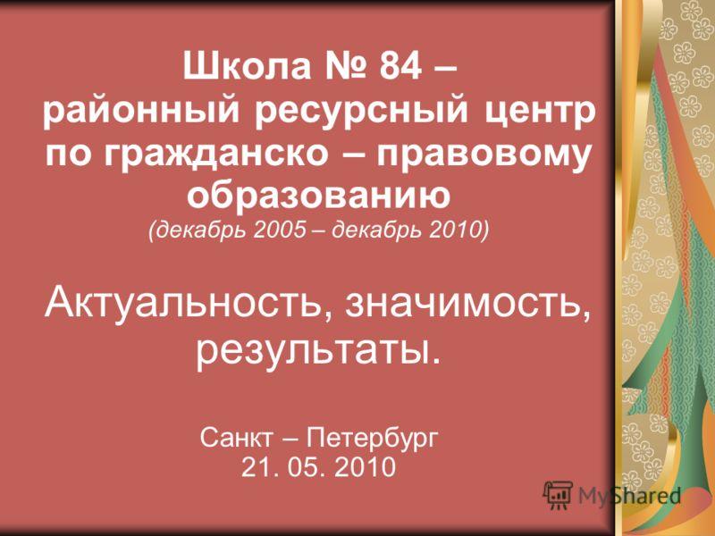 Школа 84 – районный ресурсный центр по гражданско – правовому образованию (декабрь 2005 – декабрь 2010) Актуальность, значимость, результаты. Санкт – Петербург 21. 05. 2010