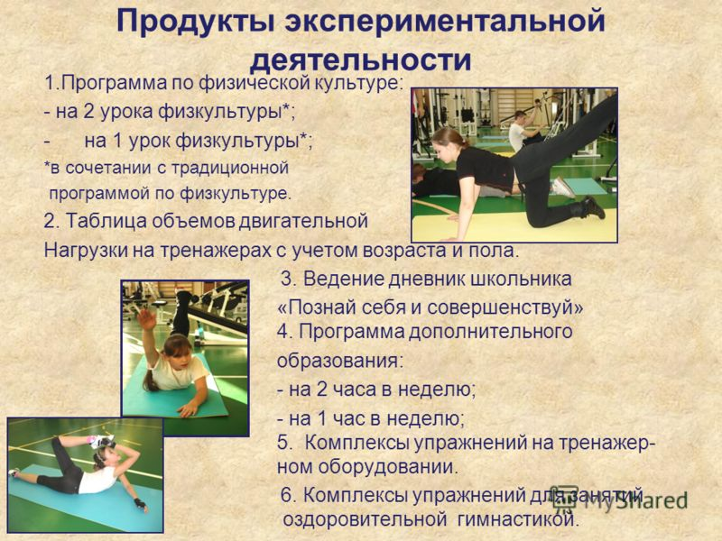 Продукты экспериментальной деятельности 1.Программа по физической культуре: - на 2 урока физкультуры*; -на 1 урок физкультуры*; *в сочетании с традиционной программой по физкультуре. 2. Таблица объемов двигательной Нагрузки на тренажерах с учетом воз