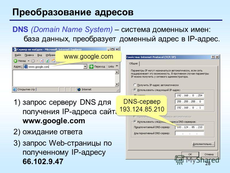 28 Преобразование адресов DNS (Domain Name System) – система доменных имен: база данных, преобразует доменный адрес в IP-адрес. www.google.com 1)запрос серверу DNS для получения IP-адреса сайта www.google.com 2)ожидание ответа 3)запрос Web-страницы п